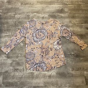 Lucky Brand Tan Floral Large Shirt Top 3/4 Sleeve